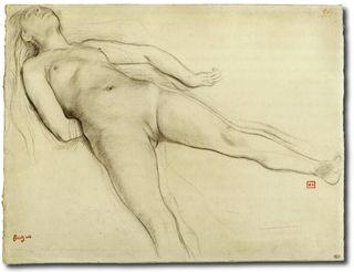 Degas, Femme nue couchée sur le dos - Dessin