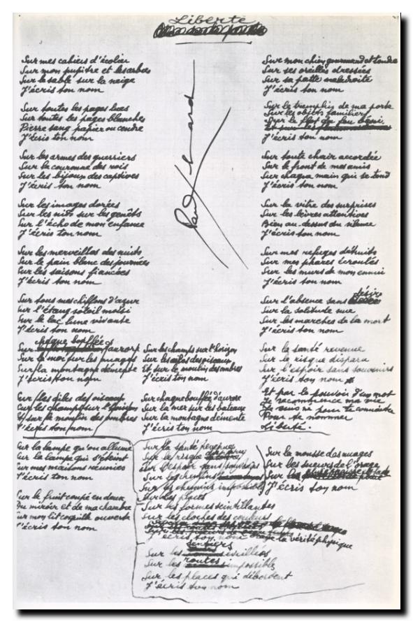 Eluard_liberte manuscrit