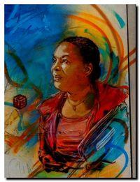 Hommage à  Christiane Taubira du graffeur C215, à Vitry sur Seine